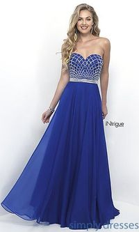 Cheap Royal Floor Length Chiffon Intrigue by Blush Prom 255 Formal Gown