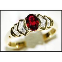 Ruby Diamond Wedding Solitaire Ring 18K Yellow Gold [RS0099]