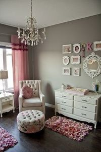 Great grey wall paint color to go with pink, black and white.
