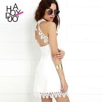 Summer 2017 new air-hanging neck sexy backless lace stitching zipper dress - Bonny YZOZO Boutique Store