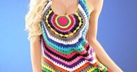 Crochet Dress...love how bright the colors are. I would totally wear this over a pair of leggings! (No pattern, link not in English)