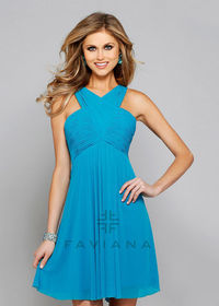 Short High Neck Criss-cross Ruched Sexy Back Blue Lagoon Cocktail Dress