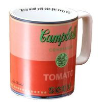 "Campbell's Tomato Soup Mug Warhol quote inside the inner rim ""Art is what you can get away with."" 15 oz , dishwasher and microwave safe."