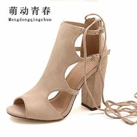 2017 Women Sandals Gladiator Genuine Leather High Heels Summer Fashion Pop Toe Shoes Woman Pulse Size 42 $24.13