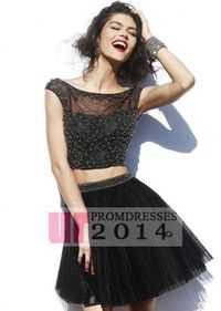 Black Beaded Backless Pleated Tulle Two Pieces Cocktail Dress