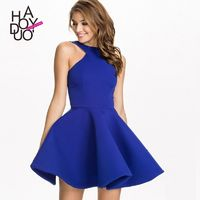 Attractive Slimming Curvy Halter Off-the-Shoulder Summer Blue Dress - Bonny YZOZO Boutique Store