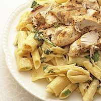 Cajun roasted chicken breast with creamy pasta