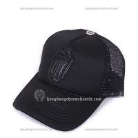 Chrome Hearts Black Leather Lips and Tongue Mesh Cap Sale