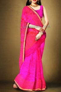 online shopping pink pure handloom silk sarees are available at www.unnatisilks.com