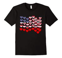 Men's Cool Hearts American Flag Tee Shirt 2XL Black American.Flag.USA.Patriot...
