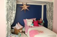 Pink and Navy Girls bedroom with bed nook