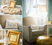aqua and gold feminine calm nursery on COUTUREcolorado Baby, featuring a metallic moroccan poof ottoman, DIY sequined love pillow, and handmade hat
