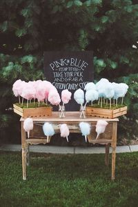 cotton candy, blue cotton and candy sticks.