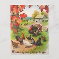 Thanksgiving Countryside Greetings Postcard