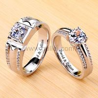 Gullei.com 1.8 Carat Diamond Promise Rings Set with Engraving Platinum Plated