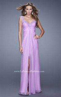 Long Ice Purple Lace Slit La Femme 20694 Prom Dresses 2015 Color:Ice Purple Fabric:Chiffon,Lace This long split dress features lace and beaded on the bodice,cutout open back.