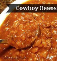Cowboy Beans: Pork n' beans, ground beef, spices, etc. all cooked low and slow in your crock pot!