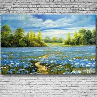 Beautiful Violets Oil Painting On Canvas Hand Painted