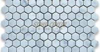 "Bathroom floor? Carrara White 1"" Hexagon Mosaic Tile Polished - Marble from Italy"