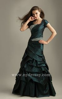 A-Line sexy sequins modest green evening long dress Night Moves 6326 by Allure