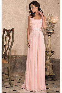 Chic Pink A-line Floor-length Scoop Chiffon Prom Dresses