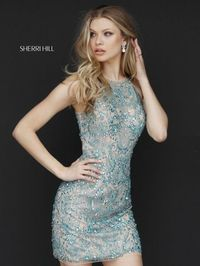 Nude/Aqua Sherri Hill 51282 Short Sexy Back Halter Neckline Homecoming Dress