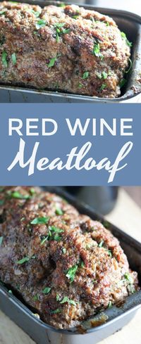 Red Wine Meatloaf is full of BOLD flavors and is one of my favorite #dinner recipes! Super easy to make and incredibly great for leftovers! #meatloaf #recipe #redwine