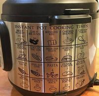 Instant Pot Vinyl Decal Instant Pot Cooking Times for all foods. This is a great go-to chart for any instant pot owner. This is a durable vinyl decal. It is very easy to apply and comes with step-by-step instructions. 6 inches tall - 7 inches wide (fi...