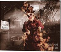 Hot Zombies Wall Art | Legend of the unstoppable walking dead zombie girl rising from a fiery wake to reek havoc amongst the living | #zombieart #horrordecor #wallprint #zombiedecor #zombies #monster #fineart #mancavedecor