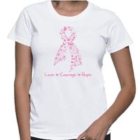 Breast Cancer Love Courage and Hope shirts ribbon shaped by butterflies, flowers, and symbols. Our shirts are printed on demand on Gildan Ladies Classic Fit styles. Our designs are created by cancer survivors and advocates to make an impression for Breast...