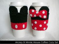 Ravelry: Mickey & Minnie Mouse Coffee Cozy Set pattern by Janet Jameson