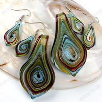 Mix-color Murano Lampwork Glass Bead Pendant Earring