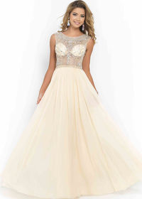Blush 9911 Sand High Illusion Neck Sheer Beaded Bodice Evening Gown
