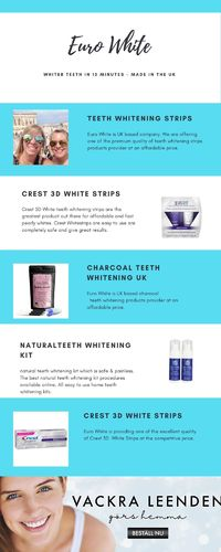 Check out crest 3d White strips at Euro White. Euro White is offering one of the high-quality crests 3d whitening strips at the best price on eurowhite.co.uk. Order with Us Today!