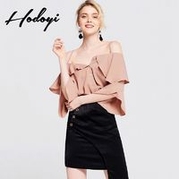 Vogue Sexy Asymmetrical Frilled Sleeves Off-the-Shoulder Fall Blouse Strappy Top - Bonny YZOZO Boutique Store