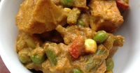 Navratan Korma - Nine Jewels (vegetables) North Indian Curry - I would use coconut oil in place of ghee, omit the paneer (maybe extra-firm tofu?), and coconut milk in place of heavy cream