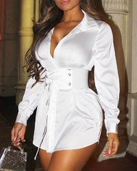 White Lace-Up Tight Waist Long Sleeve Shirt Dress at www.fashionsqueen.com