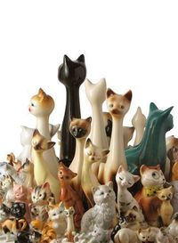 Vintage collection of ceramic cats by alisha