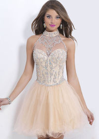 Neck Jewels Illusion Ruffled Champagne Halter Homecoming Dress