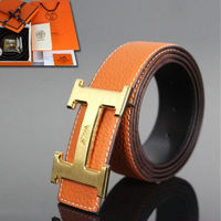 Hermes Constance Belt Logo Leather Gold Hardware In Orange