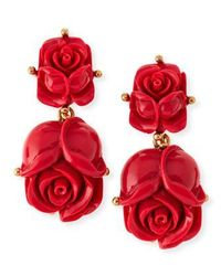 Double Rose Clip-On Earrings, Amaranth by Oscar de la Renta at Bergdorf Goodman.