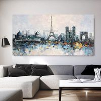 Original Paris oil painting impasto heavy texture Eiffel Tower cityscape skyline wall art painting on Canvas home decor cuadros abstractos $129.00