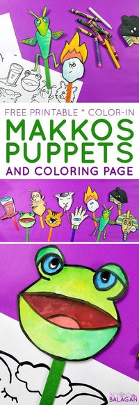 These adorable Pesach Puppets feature the ten makkos or makkot that the Egyptions were afflicted with. These free printable ten plagues puppets and coloring page are a perfect color-in craft for kids or adults for Passover seder or teaching Hebrew school ...