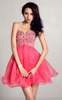 Tulle Strapless Ever Miss 1006 Jeweled Short Homecoming Dresses for Girl