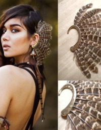 1Pc Unisex Big Feather Ear Cuff Gold Clip On Earrings $10.17