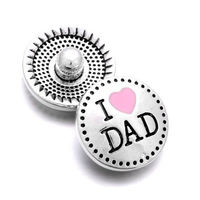 CLEARANCE Pair of I Love Dad Round Silver Tone Metal Snap Buttons. Perfect Gift for Father's Day £4.19