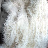 Handcrafted faux Mongolian lamb fur throw in ivory with a velvet lining. Product: ThrowConstruction Material: 1...
