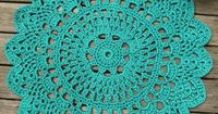 "Turquoise Patio Porch Cord Crochet Rug in Pineapple Pattern - I love these ""doily rugs""! All you need is the perfect doily pattern and the right yarn."
