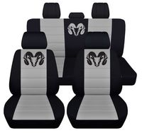 Front and Rear Seat Covers for a 2012 to 2018 Dodge Ram in Black and Silver Airbag Friendly $179.99