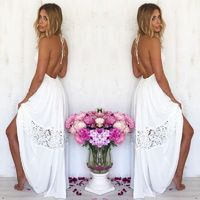 Women Lace Halter Long Maxi Dress Lady Summer Backless Party Beach Boho Sundress $41.83